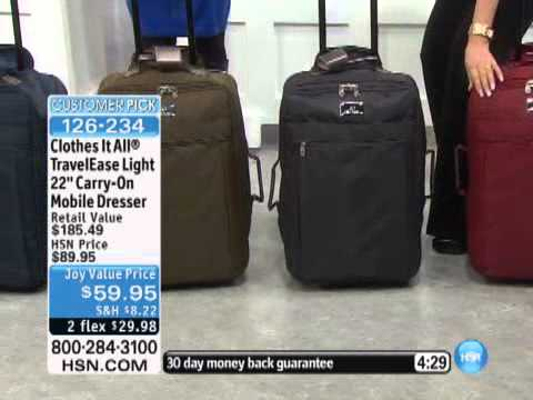 Joy Mangano Clothes It All TravelEase Light 22 Carry-On ... - YouTube