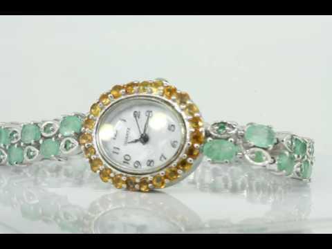 Часы оправа серебро 925 вставка изумруд, перламутр и сапфир