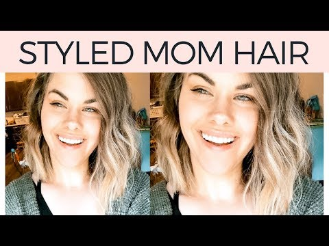 Short Hair Tutorial Mom Style - How to curl a short lob with a curling wand and straightener