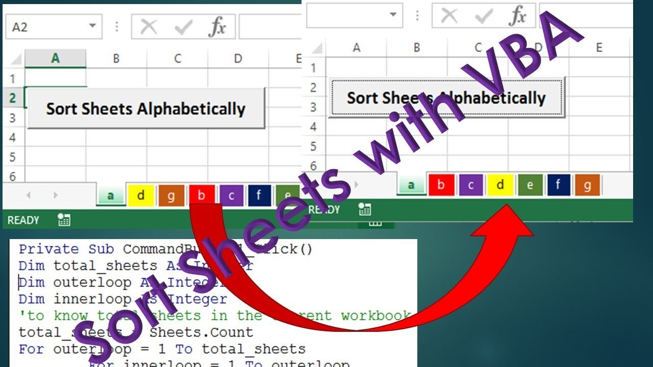 how to sort worksheets by using vba macro excel vba tutorial by exceldestination youtube. Black Bedroom Furniture Sets. Home Design Ideas