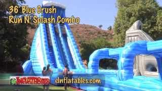 36 Foot 'blue Crush Run 'n Splash' Inflatable Water Slide | Einflatables