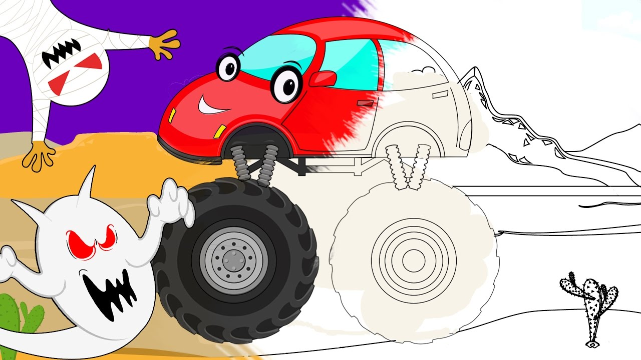 monster truck | halloween scary video | coloring book for ...