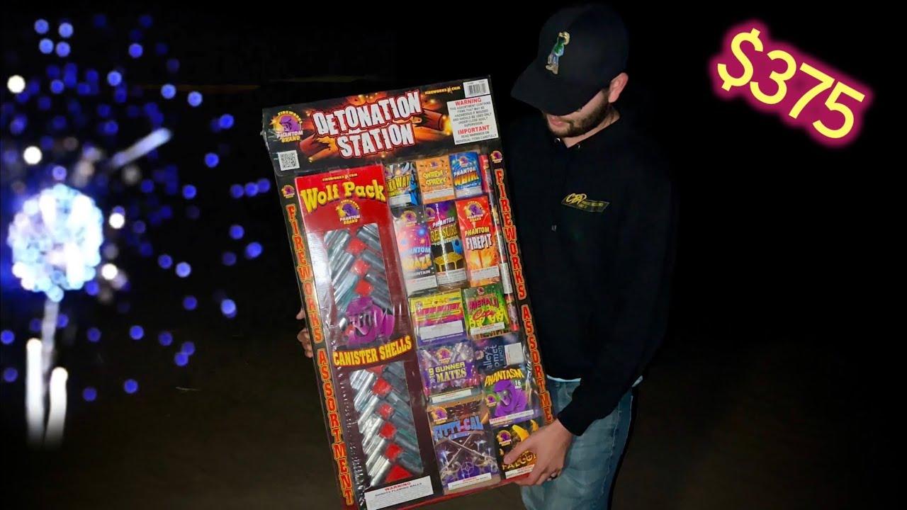 Lighting and Unboxing the Detonation Station Asst. by Phantom Fireworks!