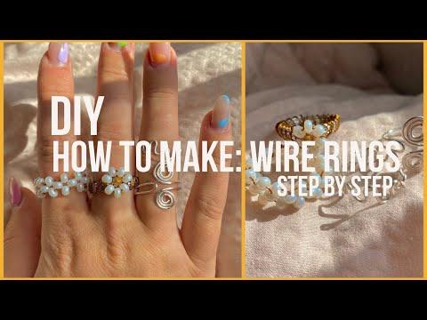 Making Wire & beaded Rings DIY *easy & trendy* - YouTube