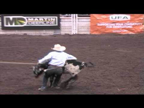 Kirk Robinson wins the Tie Down Roping in Round Two of the 2013 CNCFR