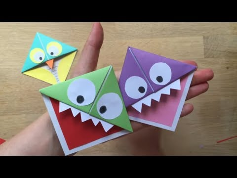 Easy Paper Monster Owl Corner Bookmarks
