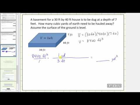 Determine Volume In Cubic Feet And Cubic Yards Conversion