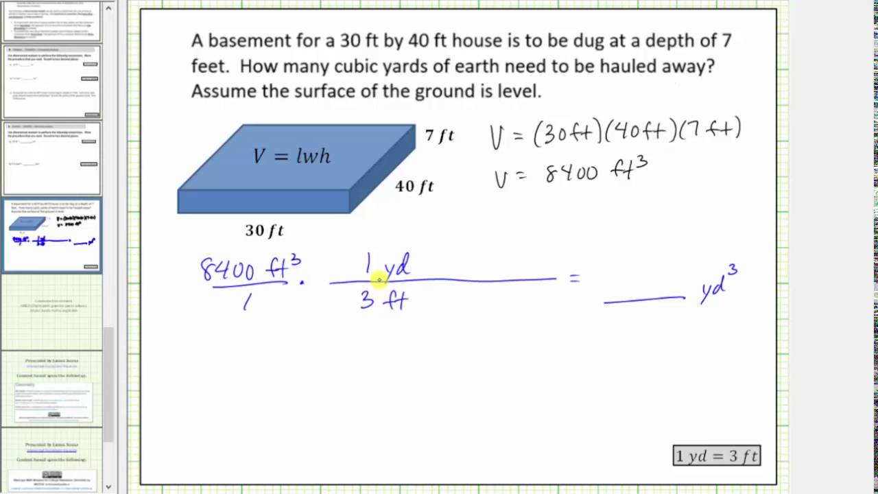Determine Volume In Cubic Feet And Yards Conversion You