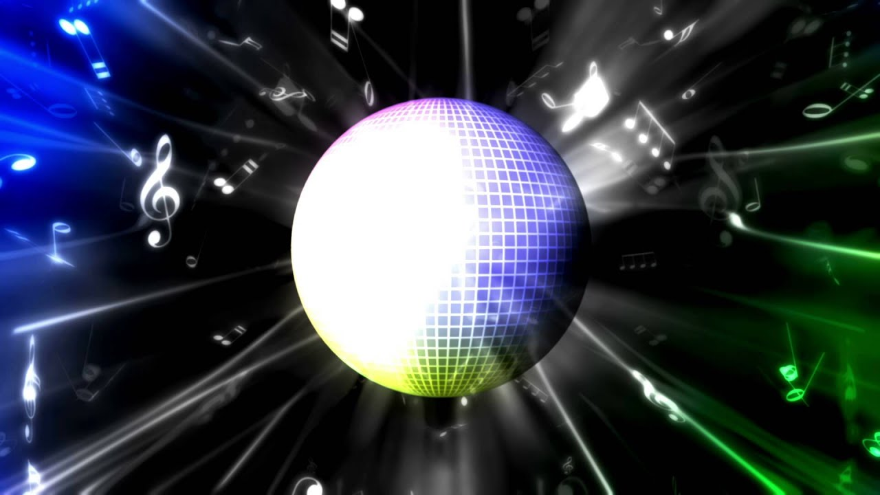 colorful disco ball and music notes bkzxtZZWS