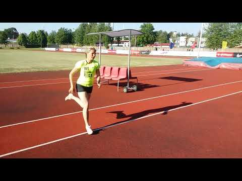 Training high jump by Agita Kalva (W37) in Ogre stadium, 24.05.2018