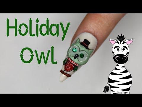 3D Christmas Owl Acrylic Nail Art Tutorial thumbnail