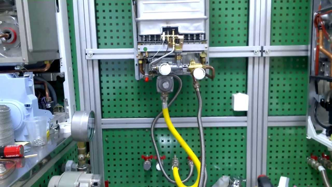 схема газо-водяного блока газовой колонки видеоурок