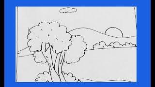 easy very drawing step scenery drawings