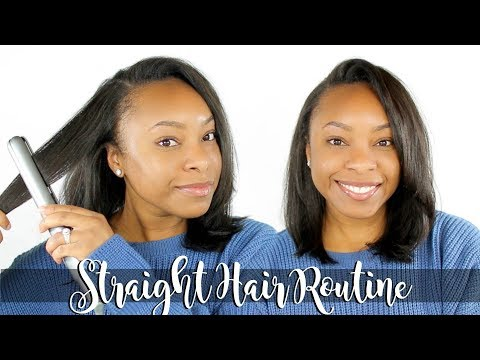 STRAIGHT HAIR ROUTINE FOR NATURAL HAIR | CURLY TO STRAIGHT HAIR WITH NO HEAT DAMAGE (ONLY ONE PASS)