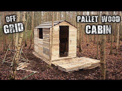 One-Man Off Grid Cabin using Free Recycled Pallet Wood