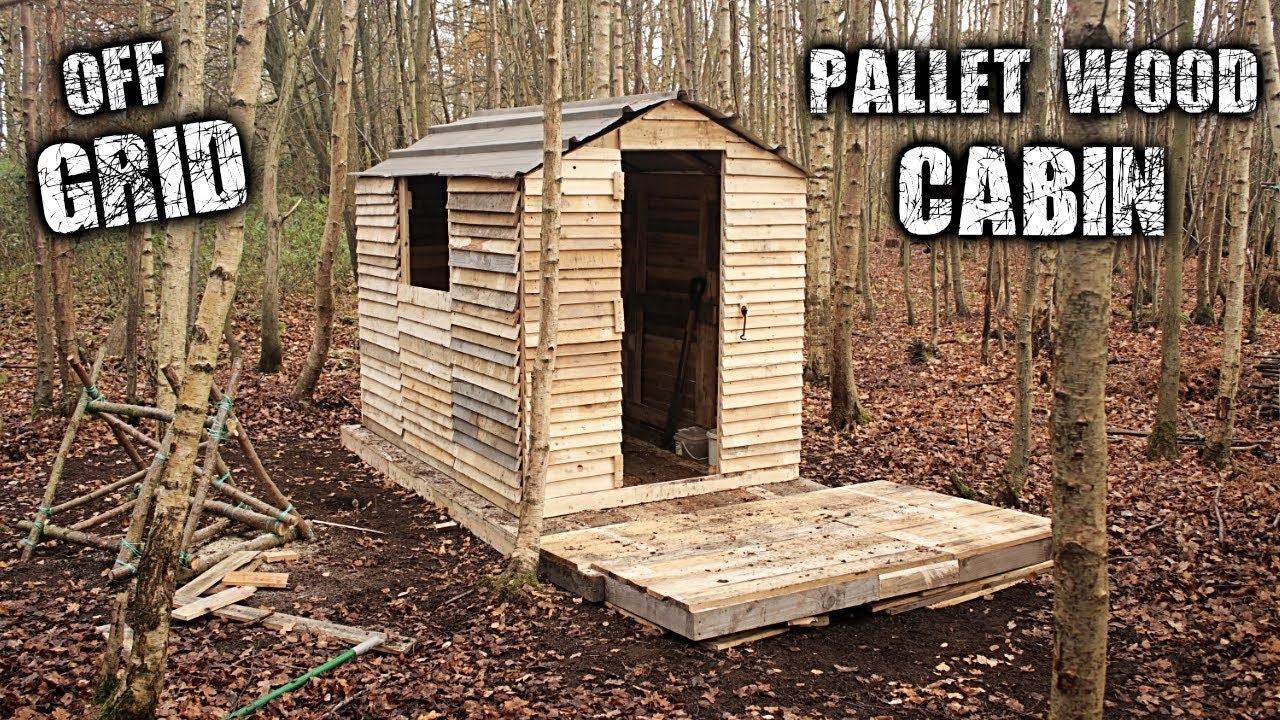 One Man Off Grid Cabin Using Free Recycled Pallet Wood