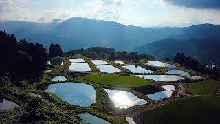 [ 4K UHD ]絶景空撮:山古志の棚田・棚池(新潟県長岡市)Rice & Pond terrace in Yamakoshi,Nagaoka ( Aerial Drone shot)