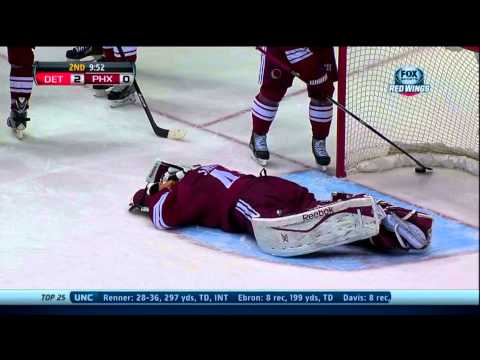 Detroit Red Wings Brian Lashoff's disallowed goal after Mike Smith's Dive Oct 19 2013 HD