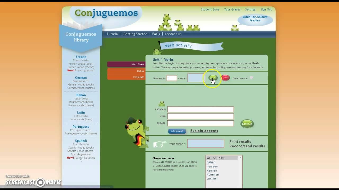 Tutorial for Conjuguemos - YouTube