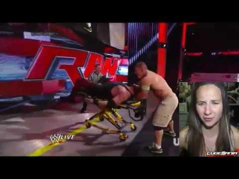 WWE Raw 6/16/14 John Cena Vs Kane Stretcher Main Event Match