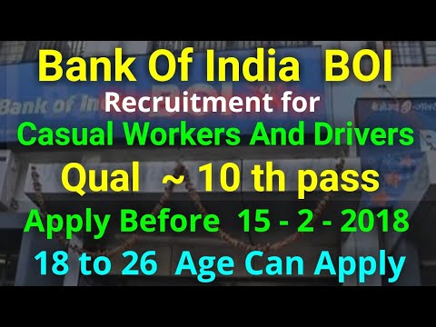 Bank Of India Attender, Casual Worker, Drivers Jobs Notification In Andhra Pradesh