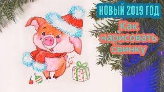 Как нарисовать НОВОГОДНЮЮ СВИНКУ / Год свиньи (2019) | Art School
