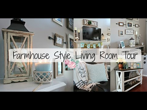 Farmhouse Style Living Room Tour 2017| Living Room Design| Makeover