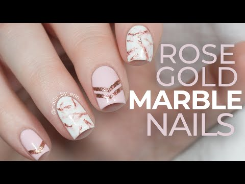 Rose Gold Marble Nails | NailsByErin - YouTube
