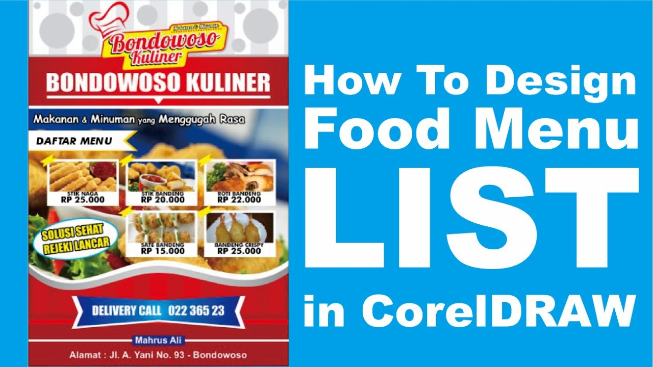 Design x banner makanan - How To Design Food Menu List In Corel Draw