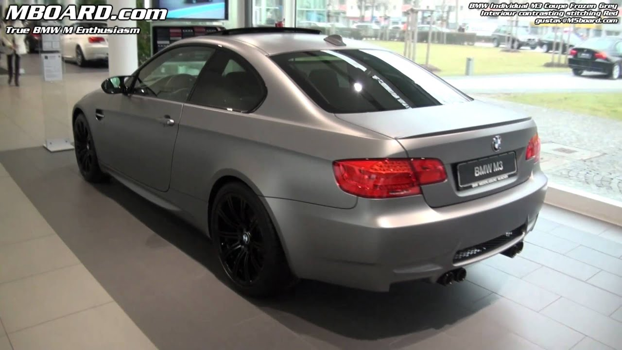 Bmw m3 frozen grey individual coupe with contrasting stitching red