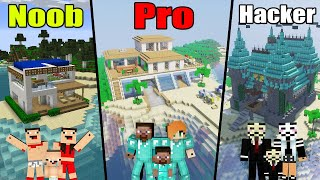 Minecraft: NOOB vs PRO vs HACKER: FAMILY BEACH HOUSE BUILD CHALLENGE / Animation