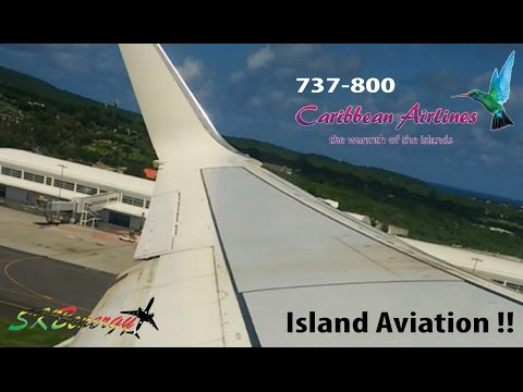 Caribbean Airlines 737-800 departing the V.C Bird Int'l Airport in Antigua