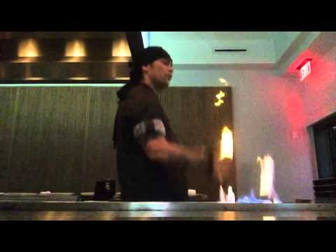 Teppanyaki freestyle in Hollywood.  TATTOO MIKE
