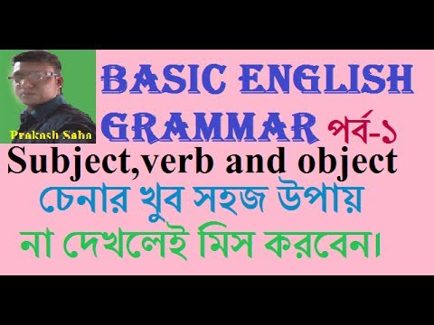 Basic English Grammar subject verb and object for  begginars in bangla