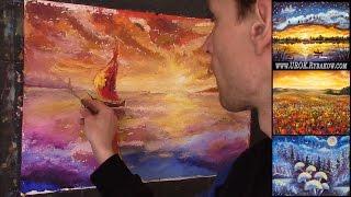 Рисуем корабль на закате - Как нарисовать картину мастихином. Полный урок от #RybakowArt