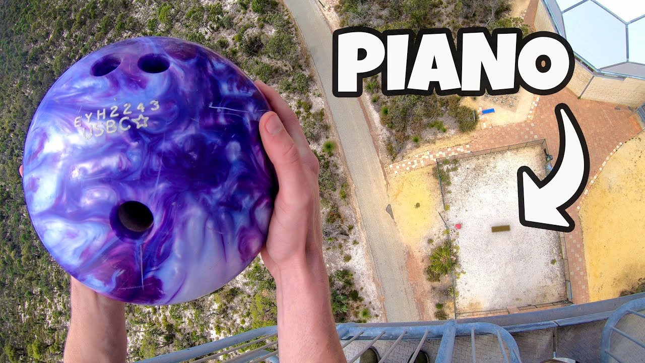 BOWLING BALL Vs. PIANO from 45m!