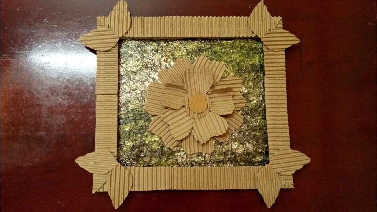 Diy wall hanging photo frame best out of waste how for Best out of waste wall hanging