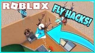 Murder Mystery 2 Trolling | FLY HACKING TROLL! | Roblox