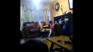 Little girl caught dancing