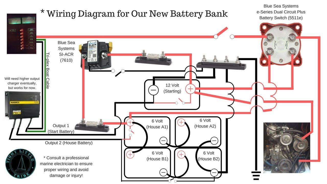 Battery Isolator Switch Wiring Diagram Hubbell Duplex Receptacle Blue Sea Systems 5511e & Acr 7610 | 6 Volt Bank In Series ...