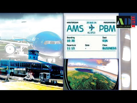 KLM 747 Amsterdam 2016 World Business Class flight Landing Surinam Paramaribo Airport South America