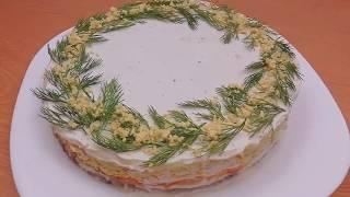 КАК ЛЕГКО УКРАСИТЬ САЛАТ🎄НА НОВОГОДНИЙ СТОЛ🎄И НЕ ТОЛЬКО! Салат Мимоза/Mimosa Salad