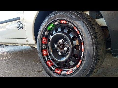 Roleta de cassino nas rodas do carro