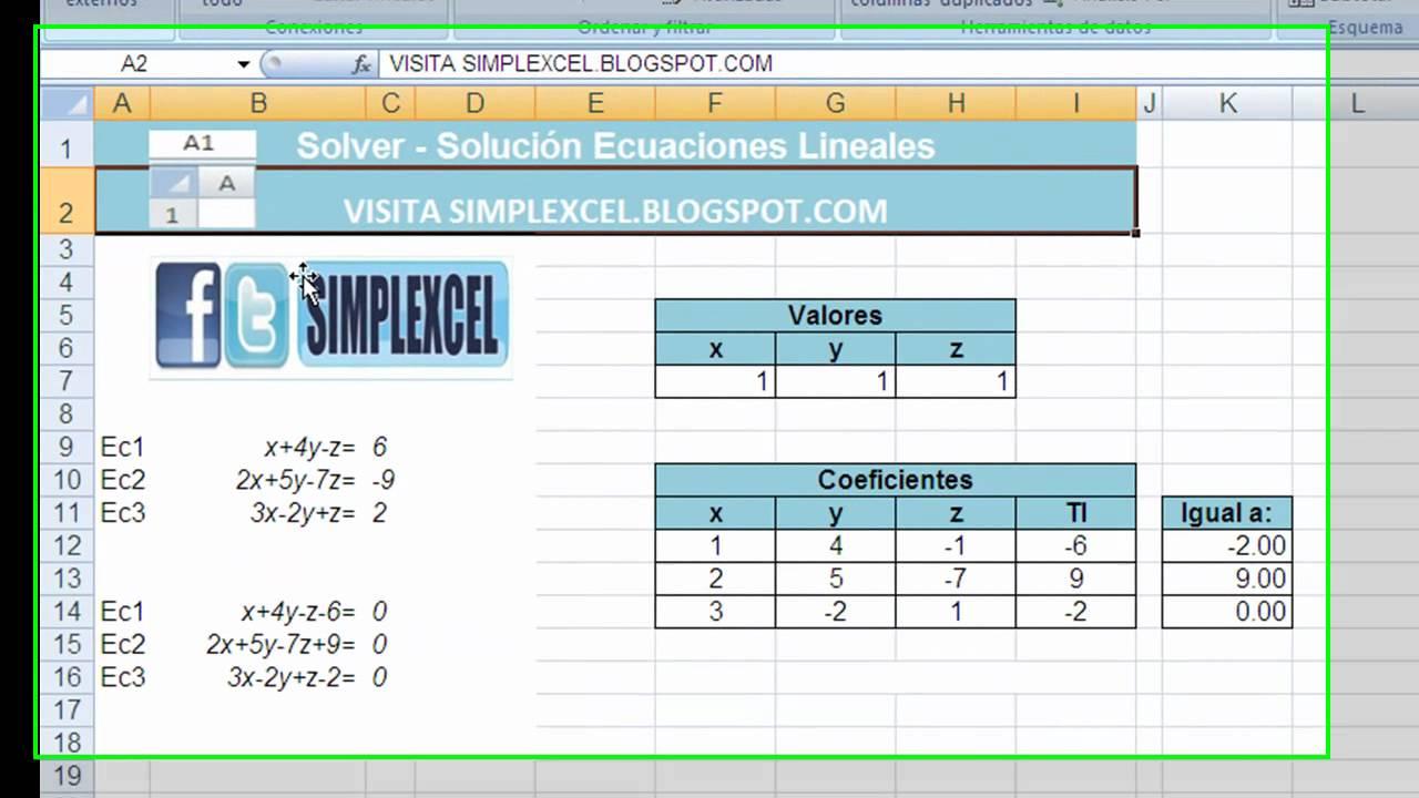 Solución de Ecuaciones lineales con Solver en EXCEL - YouTube