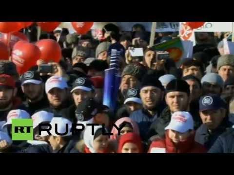 В Грозном прошел митинг в защиту исламских ценностей
