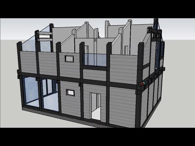 Построение  модели фахверкового дома в SketchUp: 2 этажа, 196 кв м. Выпуск #50