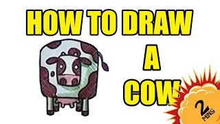 Drawing Lessons - How To Draw A Cow IN 2 MINUTES!