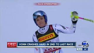 Lindsey Vonn crashes in penultimate race as Mikaela Shiffrin wins world title