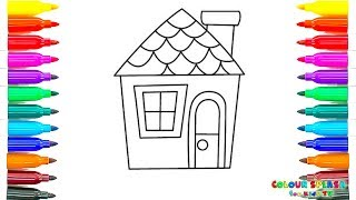 How To Draw and Paint House | Colors and Coloring Page