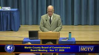 Martin County Board of County Commissioners Meeting, Tuesday, November 17 part 1